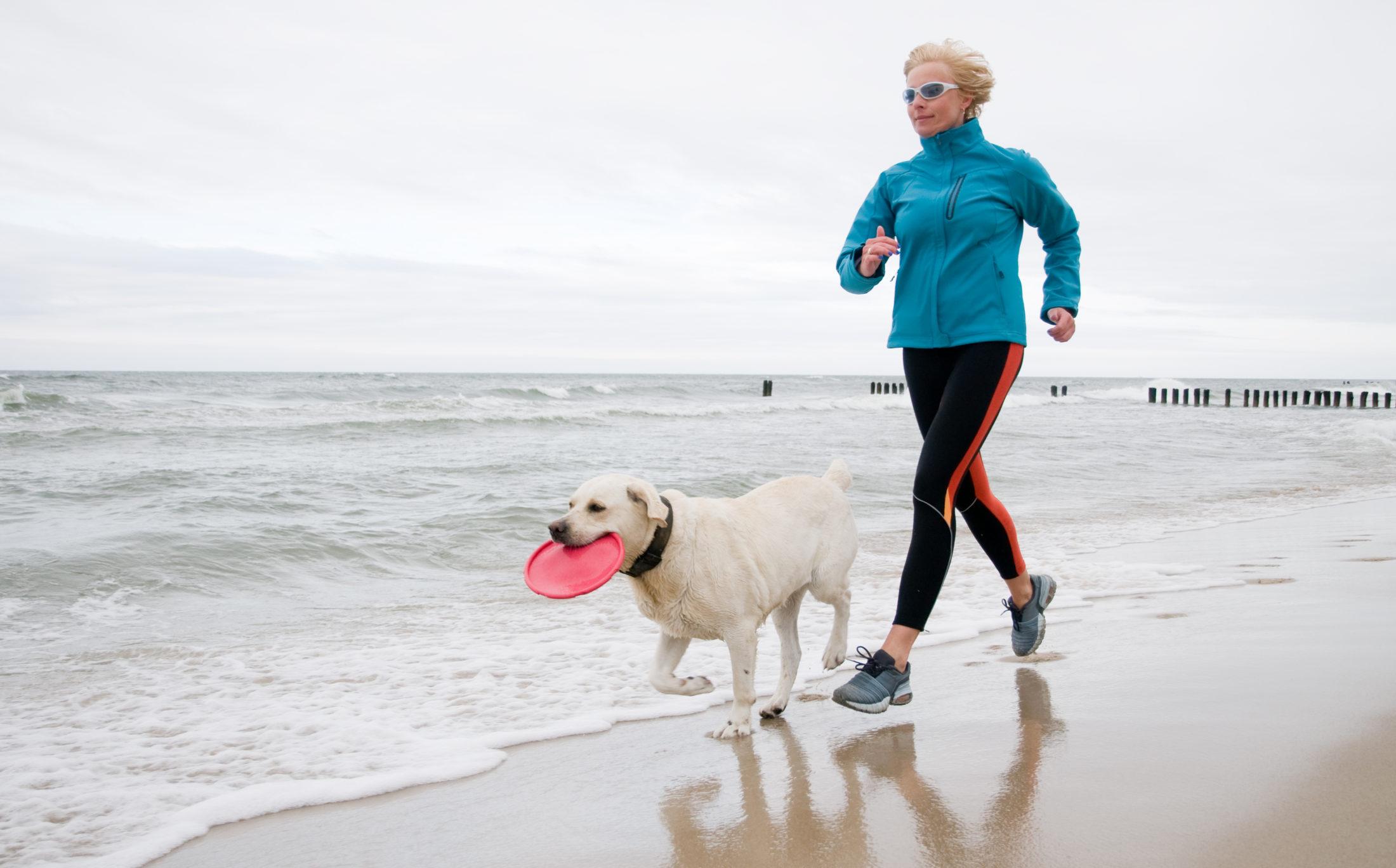 atividades para cachorros - mulher correndo com cachorro na praia com frisbee na boca