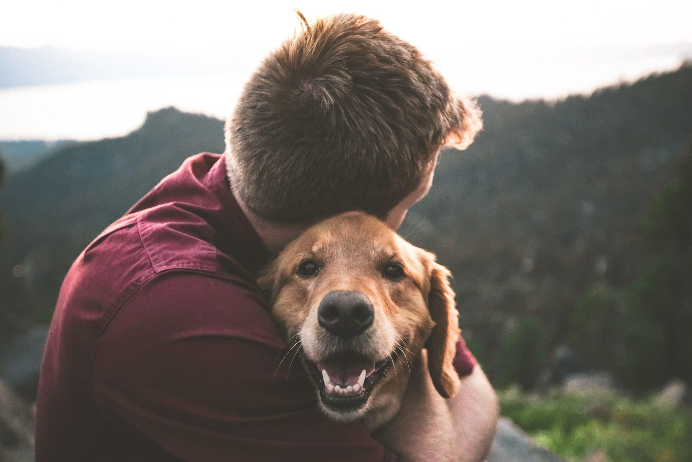 dono abraçado com seu cachorro feliz