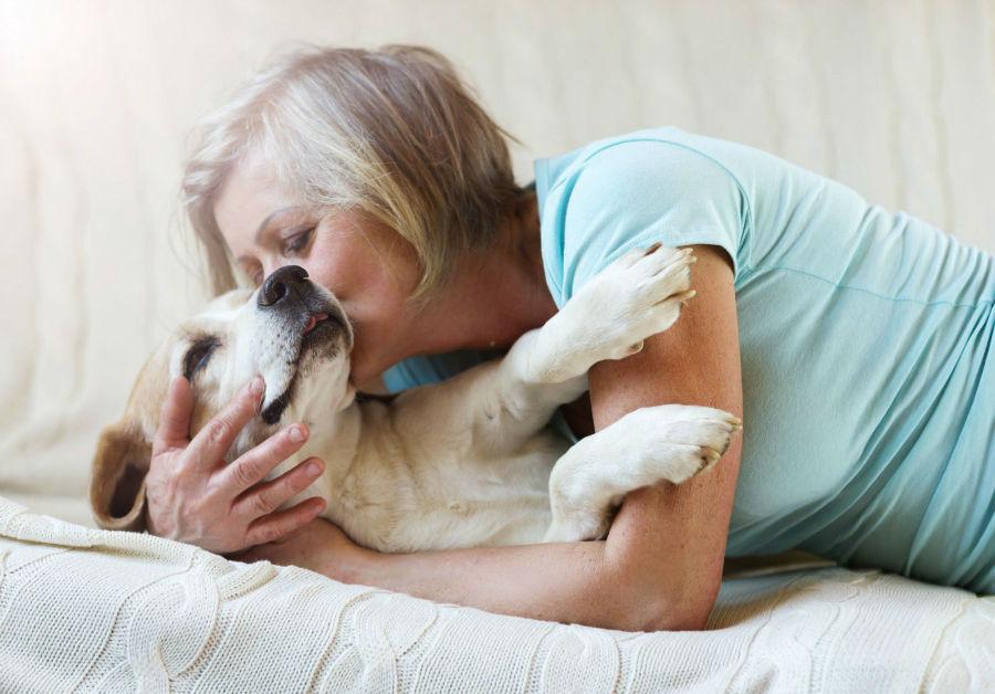 Vínculo com cachorro: Mulher abraçando cachorro Labrador Retriever