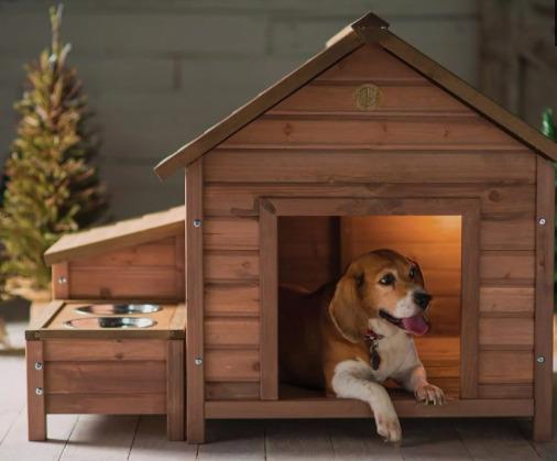 casinha de cachorro com comedouro embutido
