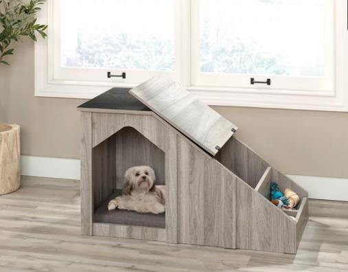 casinha de cachorro com compartimento lateral para guardar objetos