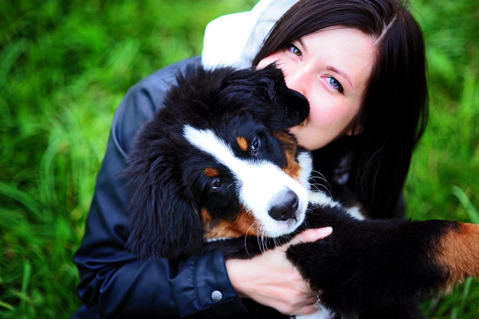 Como diminuir o estresse: Mulher abraçada ao seu Cão Montanhês de Bernese em momento de lazer e alegria.